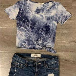 Tie dye tie up top and Hollister denim shorts
